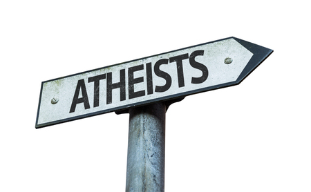 nonbelief: Atheists sign on white background
