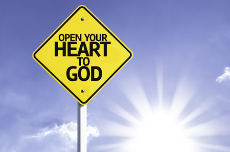 open your heart: Open your heart to God sign with sunny background Stock Photo