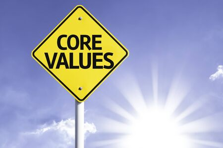 principles: Core values sign with sunny background Stock Photo