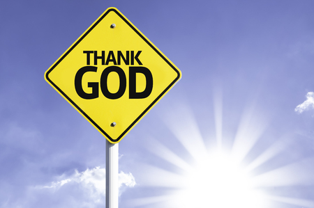 Thank God sign with sunny background
