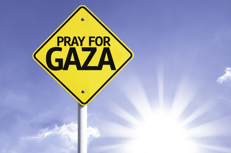 Pray for Gaza sign with sunny background Stock Photo