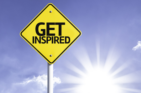 inspired: Get inspired sign with sunny background
