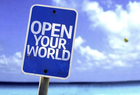 sea world: Open your world sign with sea background