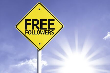 followers: Free followers sign with sunny background Stock Photo