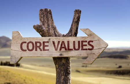 principles: Core values sign with arrow on desert background