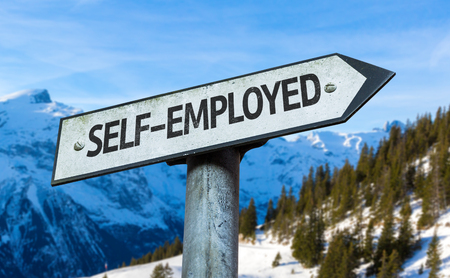selfemployed: Self-employed sign with outdoors background