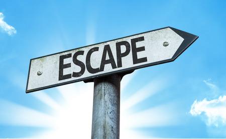 escape: Escape sign with sunny background Stock Photo