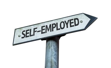 selfemployed: Self-employed sign on white background Stock Photo