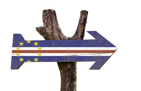 Cape Verde flag wooden sign board on white background