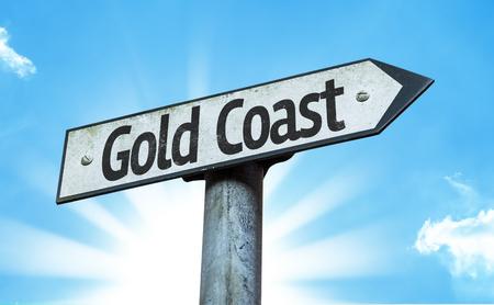 gold coast: Gold Coast sign with sunny background