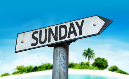 sunday: Sunday sign with beach background