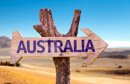 Australia sign with arrow on desert background