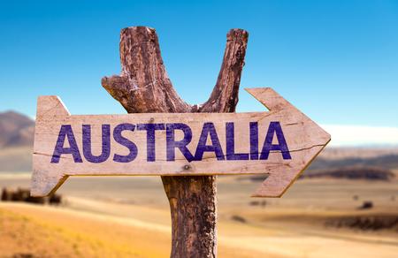 Australien Schild mit Pfeil auf Wüste Hintergrund