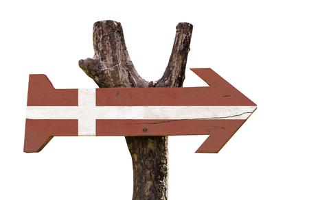 denmark flag: Denmark flag wooden sign board on white background