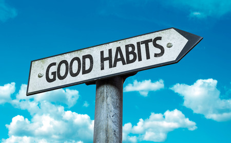 habits: Good habits sign with clouds and sky background