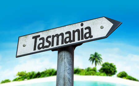 tasmania: Tasmania sign with beach background