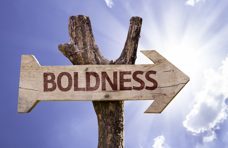 Boldness sign with arrow on sunny background