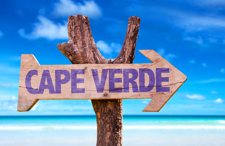 Cape Verde sign with arrow on beach background
