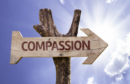 Compassion sign with arrow on sunny background Stock Photo
