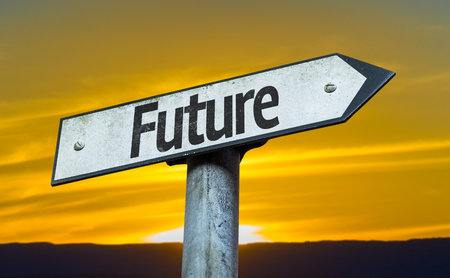 future sign: Future sign with sunset background Stock Photo
