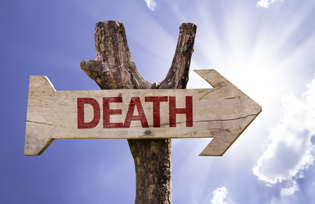 Death sign with arrow on sunny background