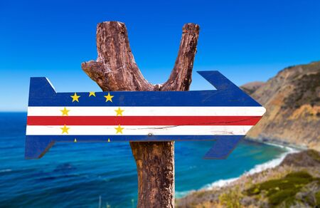 Cape Verde flag sign with outdoors background