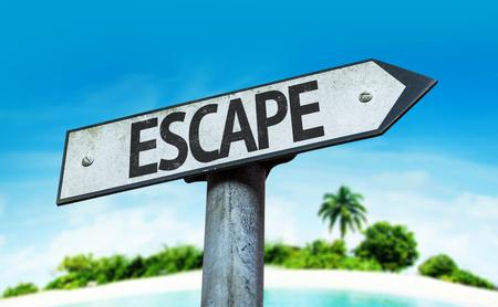 escape: Escape sign with beach background