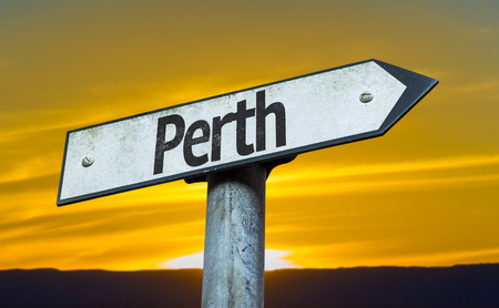 Perth sign with sunset background