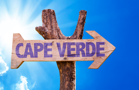Cape Verde sign with arrow on sunny background Stock Photo