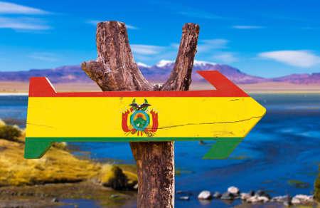 bandera de bolivia: bandera de Bolivia tablero de la muestra de madera en el fondo de los humedales