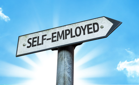 selfemployed: Self-employed sign with sunny background