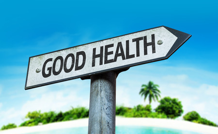 Good health sign with beach background