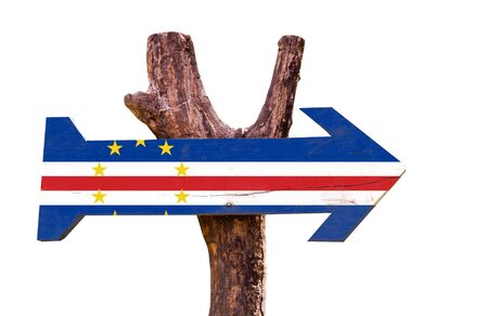 cape verde flag: Cape Verde flag wooden sign board on white background