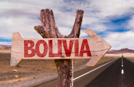 Bolivia sign with arrow on road background Stock Photo