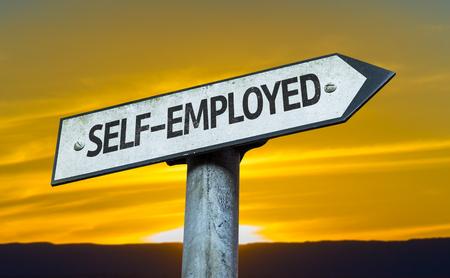 selfemployed: Self-employed sign with sunset background
