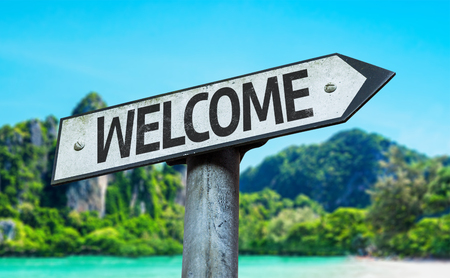Welcome sign with wetland background Stock Photo