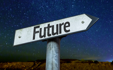 future sign: Future sign with night sky background Stock Photo