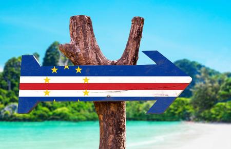 cape verde flag: Cape Verde flag wooden sign board in wetland background