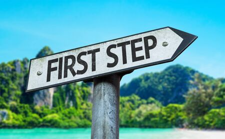 first step: First step sign with wetland background