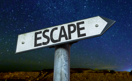and escape: Escape sign with night sky background