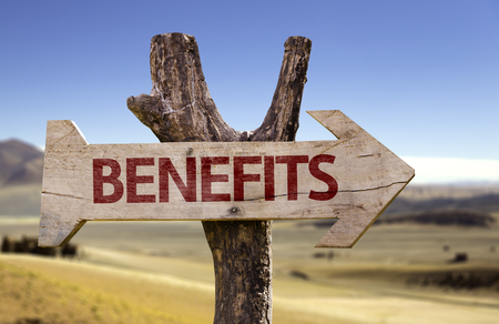 Benefits sign with arrow on desert background