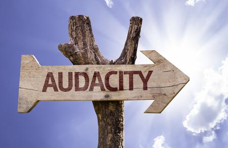 audacious: Audacity sign with arrow on sunny background