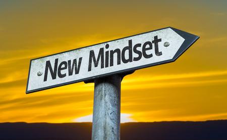 New mindset sign with sunset background Stock Photo