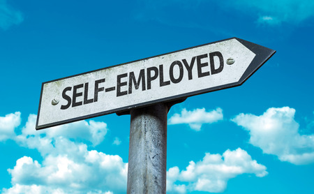 selfemployed: Self-employed sign with clouds and sky background