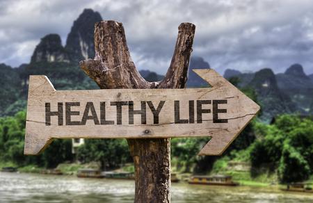 Holzschild Bord in Feuchtgebiet mit dem Text: Gesundes Leben Standard-Bild - 61880526