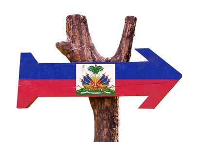 Haiti flag wooden sign board on white background