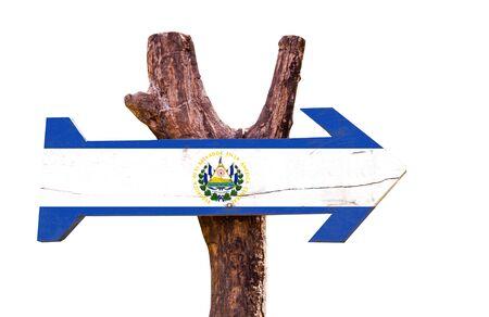 bandera de el salvador: bandera de El Salvador tablero de la muestra de madera sobre fondo blanco
