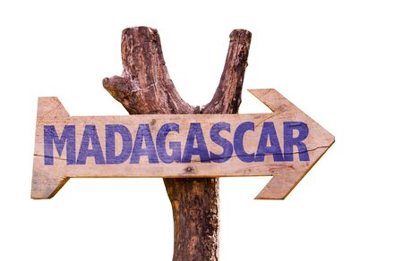 Wooden sign board on white background with text: Madagascar Stock Photo