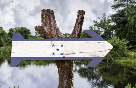 bandera honduras: bandera de Honduras tablero de la muestra de madera en el fondo de los humedales
