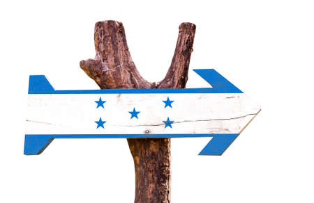bandera honduras: bandera de Honduras tablero de la muestra de madera sobre fondo blanco Foto de archivo